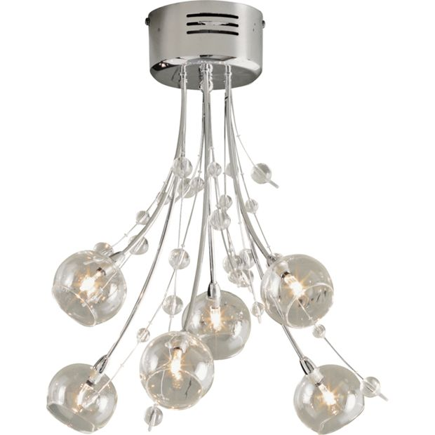 Switched Chandelier Wall Lights : Buy Heart of House Sophie 6 Light Ceiling Fitting - Chrome at Argos.co.uk - Your Online Shop for ...