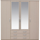 more details on New Hallingford 4 Dr 3 Drw Mirrored Wardrobe - Light Oak.