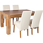 more details on Heart of House Alston Oak Dining Table and 4 Cream Chairs.