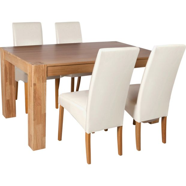 Buy Heart Of House Alston 150cm Oak Table 4 Chairs Cream At Your Online Shop