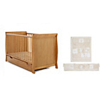 more details on Obaby Sleigh Cot Bed, Mattress and Cream Bedding - Pine.