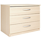 more details on New Hallingford 3 Drawer Wide Bedside Chest - Light Oak.