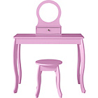 more details on Mia Dressing Table and Stool - Pink.
