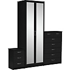 more details on Collection Cheval 3 Piece 2 Door Wardrobe Package - Black.
