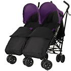 more details on Obaby Apollo Twin Stroller - Purple with Black Footmuffs.