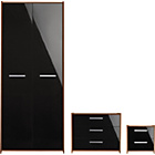 more details on New Sywell 3 Piece 2 Door Wardrobe Package-Walnut Effect/Blk