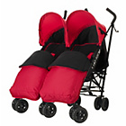 more details on Obaby Apollo Twin Stroller - Red with Red Footmuffs.