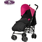 more details on Obaby Atlas Black/Grey Stroller - Pink with Black Footmuff.