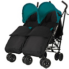 more details on Obaby Apollo Twin Stroller - Turquoise with Black Footmuffs.