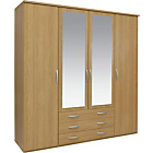 more details on New Hallingford 4 Dr 3 Drw Mirrored Wardrobe - Oak Effect.