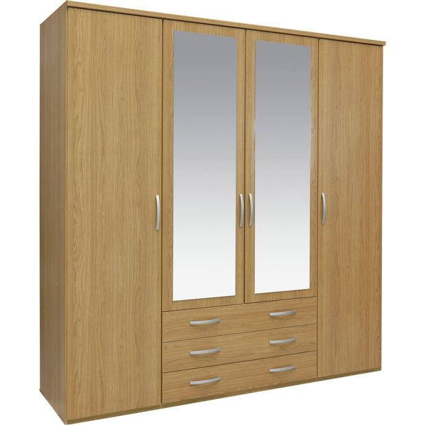 Buy Collection New Hallingford 4 Dr 3 Drw Mirror Wardrobe