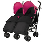 more details on Obaby Apollo Twin Stroller - Pink with Black Footmuffs.