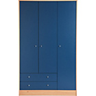 more details on New Malibu 3 Door 2 Drawer Wardrobe - Blue on Pine.