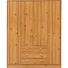 more details on New Malibu 4 Door 3 Drawer Wardrobe - Pine Effect.