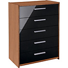 more details on New Sywell 5 Drawer Chest - Walnut Effect and Black.