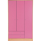 more details on New Malibu 3 Door 2 Drawer Wardrobe - Pink on Pine.