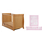 more details on Obaby Sleigh Cot Bed, Mattress and Pink Bedding - Pine.