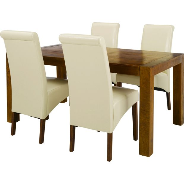 Buy Heart Of House Melford Acacia Dining Table 4 Chairs Cream At Your Online