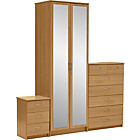 more details on Collection Cheval 3 Piece 2 Door Wardrobe Package-Oak Effect