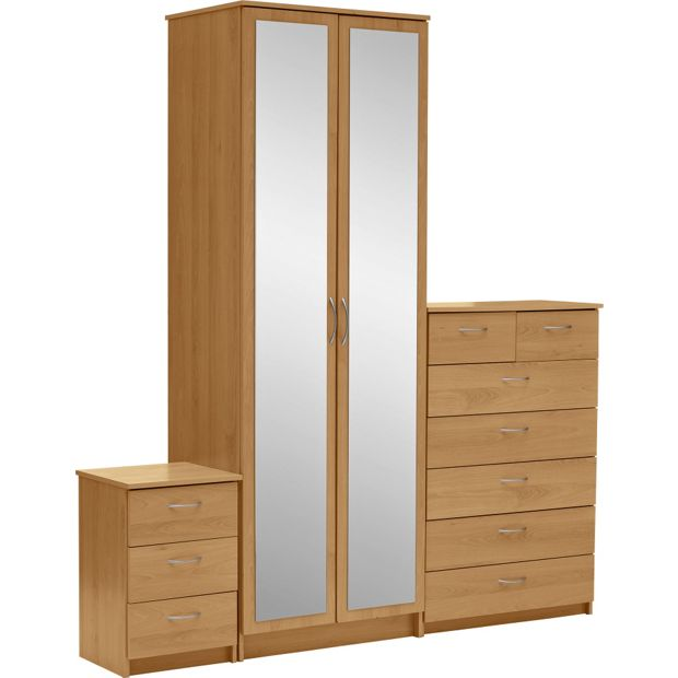 Buy collection cheval 3 piece 2 dr wardrobe package oak for Furniture 3 piece suites