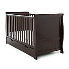 more details on Obaby Sleigh Cot Bed, Mattress and White Bedding - Walnut.