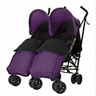 more details on Obaby Apollo Twin Stroller - Purple with Purple Footmuffs.
