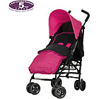 more details on Obaby Atlas Black/Grey Stroller - Pink with Pink Footmuff.