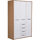 more details on New Sywell 3 Door 4 Drawer Wardrobe - Oak Effect and White.