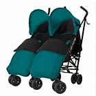 more details on Obaby Apollo Twin Stroller - Turquoise with Turq Footmuffs.