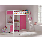 more details on Coloured High Sleeper Bed Frame with Desk/Chest/Robe - Pink.