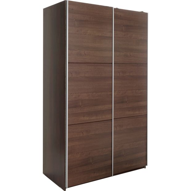 buy hygena bergen 2 door small sliding wardrobe walnut. Black Bedroom Furniture Sets. Home Design Ideas