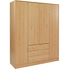 more details on New Malibu 4 Door 3 Drawer Wardrobe - Beech Effect.
