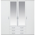 more details on New Hallingford 4 Door 3 Drawer Mirrored Wardrobe - White.