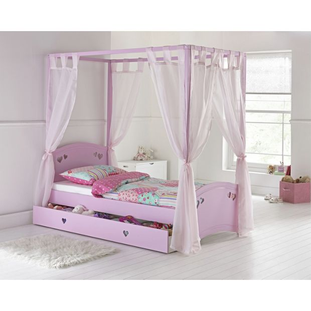 Buy Mia Single 4 Poster Bed Frame Pink At