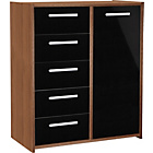 more details on New Sywell 5 Drawer 1 Door Chest - Walnut Effect and Black.