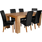 more details on Heart of House Alston Oak Dining Table and 6 Black Chairs.