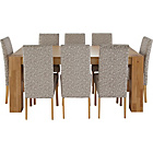 more details on Heart of House Alston Oak Dining Table and 8 Floral Chairs.