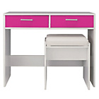more details on HOME New Sywell Dressing Table and Stool - White/Pink Gloss.
