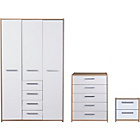more details on New Sywell 3 Piece 3 Door Wardrobe Package-Oak Effect/White.