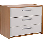 more details on New Sywell 3 Drawer Chest - Oak Effect and White Gloss.