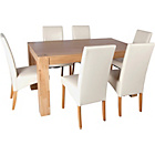 more details on Heart of House Alston Oak Dining Table and 6 Cream Chairs.