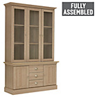 more details on Chelsea 3 Door Glass Display Cabinet - Oak Effect.