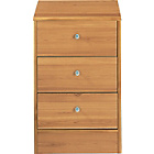 more details on New Malibu 3 Drawer Bedside Chest - Pine