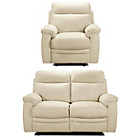 more details on Paulo Regular Leather Recliner Sofa and Chair - Ivory.