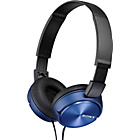 more details on Sony ZX310 On-Ear Headphones - Blue.