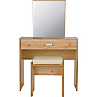 more details on New Capella 1 Drw Dressing Table, Stool, Mirror- Pine Effect