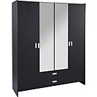 more details on HOME New Capella 4 Dr 2 Drw Mirror Wardrobe-Black ash Effect