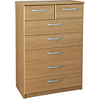 more details on New Hallingford 5+2 Drawer Chest - Oak Effect.