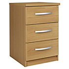 more details on New Hallingford 3 Drawer Bedside Chest - Oak Effect.