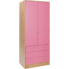 more details on New Malibu 2 Door 3 Drawer Wardrobe - Pink on Pine.